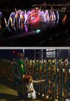 【上】幻想的な光が観衆を魅了したイルミネーションショー=鳴門市撫養町のボートレース鳴門【下】竹灯籠のオブジェを楽しむ来場者=三好市池田町のへそっ子公園