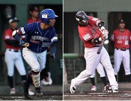 【左】2回裏、徳島・平間の適時打で3-1とする【右】2回表、来日初アーチを放つ高知・マニー=JAバンク徳島スタジアム