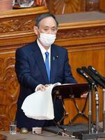 参院本会議で施政方針演説をする菅首相=18日午後