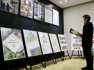 急傾斜地農法を紹介するパネルに見入る来館者=美馬市脇町の市立図書館