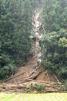 台風の影響で山肌から田んぼに流れ込んだ土砂=18日、三好市池田町馬路