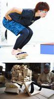 【上】小平奈緒選手がトレーニングで使用している一本歯げた=長野市のエムウエーブ【下】注文が相次いでいる一本歯げた=東みよし町加茂の「斉藤桐材工業」