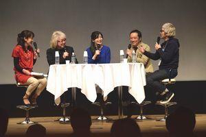 映画音楽について話す作曲家や監督ら=徳島市のあわぎんホール