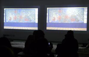 襖からくりの4K映像が紹介された上映会=徳島大常三島キャンパス