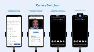 スマホを顔の表情で操作できるグーグルの新機能「カメラスイッチ」(グーグル提供・共同)