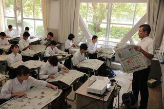 新聞の読み方や活用法学ぶ 富岡西高でNIE授業