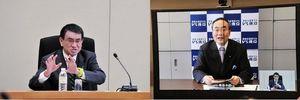 消費者庁誘致について意見交換する河野太郎消費者担当相(左)と飯泉嘉門知事=午前、県庁