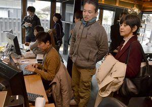 えんがわオフィスで隅田代表(右から2人目)から説明を受ける板東長官(右端)=午前10時半、神山町神領