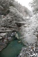 雪化粧した祖谷のかずら橋=三好市西祖谷山村善徳