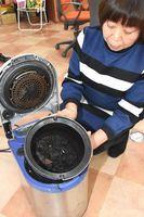 石井町内で使われている生ごみ処理機。町は補助を復活させたが利用低迷が続く=石井町石井の電気店「カルテット石井」
