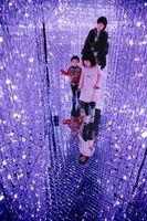 約10万個のLEDで宇宙空間を表現したデジタルアート作品=板野町のあすたむらんど徳島