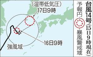 台風14号の予想進路(15日9時現在)
