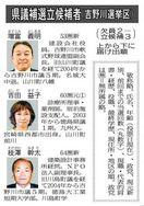 吉野川選挙区県議補選告示 元・新3氏の争い