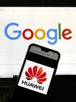 米グーグルと華為技術(ファーウェイ)のロゴ