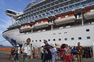 下船し、県内観光に向かう観光客ら=午前7時25分ごろ、小松島市の徳島小松島港赤石岸壁