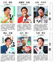 徳島県内2選挙区の立候補者(右から左へ届け出順、敬称略。☆は比例重複立候補)