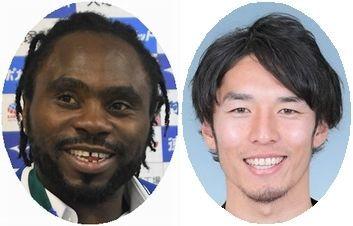 選手登録された徳島のFWウタカ(左)とFW押谷