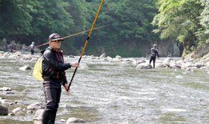 アユを狙ってさおを出す釣り人たち=午前8時半ごろ、海陽町小川の海部川