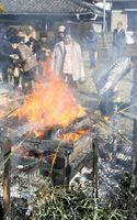 どんど焼きの炎でミカンを焼く参加者=徳島市春日3