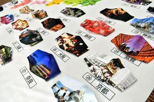 全国47都道府県の代表的な祭りの写真をプリントした「小杉織物」の「祭りマスク」=福井県坂井市