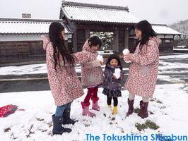 寒波の影響で、雪景色に染まった徳島市内。鷲の門では雪遊びに興じる子どもの姿も=2月4日午前10時45分、徳島市徳島町城内1