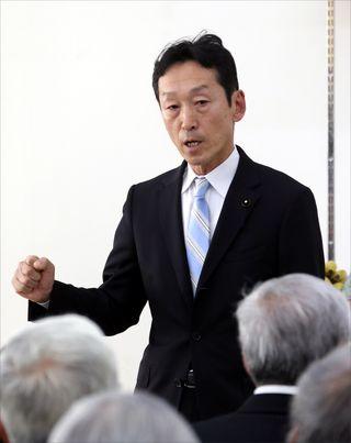 「無駄遣いをただす」 4月知事選 岸本氏 事務所開き