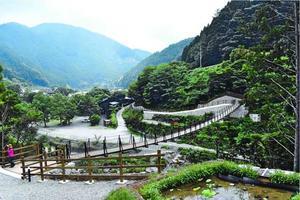 勝浦川の南北両岸を結ぶ「いろどり橋」=上勝町福原