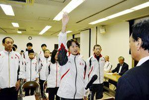 選手を代表して宣誓する名東郡の吉田主将=佐那河内村下の村農業総合振興センター