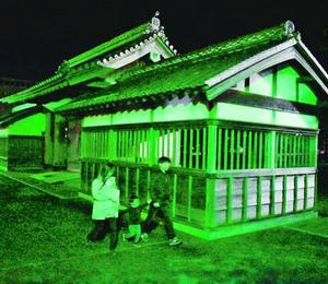 緑色にライトアップされた鷲の門=徳島中央公園