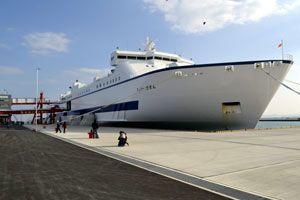 徳島小松島港に初入港した「フェリーびざん」=徳島市のマリンピア沖洲