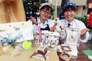 新商品を開発し、徳島市の日曜市で販売する城西高校神山分校の「森林女子」=徳島市新内町2