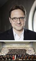 [上]演奏会で初めて指揮をするトーマス・ドーシュ氏(鳴門「第九」を歌う会提供)[下]全国の合唱団が高らかに歌い上げるベートーベン「第九」交響曲演奏会=2014年6月、鳴門市文化会館