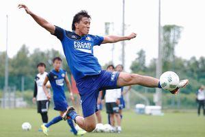 京都戦で2試合連続ゴールを狙う徳島の山崎=徳島スポーツビレッジ