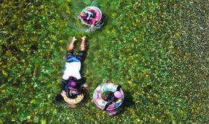 清流を楽しむ親子連れ。川底の石が描く模様までくっきり見えていた=美馬市穴吹町
