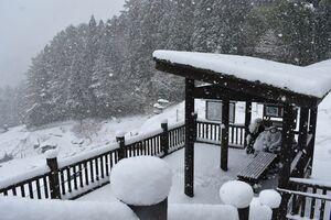 雪に覆われた三好市の落合集落展望所=16日午前11時ごろ、三好市東祖谷中上
