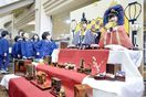 藍染で愛らしく 徳島市立木工会館で雛人形飾り展