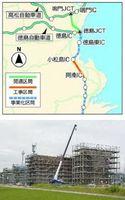 高架橋下部工事が進む四国横断自動車道の建設現場=小松島市前原町