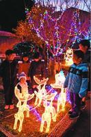 イルミネーションを楽しむ子ども=美波町の由岐駅