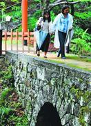 大麻比古神社のドイツ橋100年 元捕虜の孫が初訪問