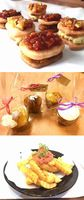 大学生が開発した(上から)クッキーサンド、マフィン、ソース(ポテトの上)
