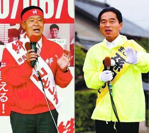 第一声を上げる孫田さん(右)=午前9時半ごろ、小松島市大林町本村 決意表明する中山さん(左)=午前9時半ごろ、小松島市金磯町