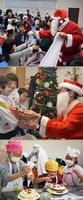 【上】サンタからプレゼントをもらう子どもたち=美馬市【中】サンタ姿の三歩一さん(右)からプレゼントを受け取る園児=つるぎ町【下】クリームやフルーツでケーキを飾り付ける参加者=板野町
