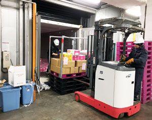 欧州向け海上輸送実験のため、CAコンテナに農産物を積み込む作業員=神戸港(徳島県提供)