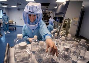 米ファイザーと新型コロナウイルスワクチンを開発したドイツのビオンテックの工場で作業する関係者=3月、ドイツ・マールブルク(AP=共同)