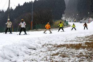 暖冬の影響で来場者が落ち込んでいる井川スキー場腕山。芝生がのぞくゲレンデもある=三好市井川町