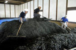 積み上げられた藍の葉を崩し、再び積み上げる作業をする職人ら=上板町下六條の佐藤阿波藍製造所