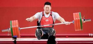 男子96キロ級 ジャークで200キロに失敗した山本俊樹=東京国際フォーラム