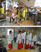 [上]みこしを担いで施設内を練り歩く児童ら[下]高齢者に「浦安の舞」を披露する児童=いずれも阿南市長生町の「ライフイン長生」