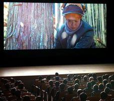 映画祭のオープニングを飾った蔦監督の作品「林こずえの業」=徳島市のあわぎんホール