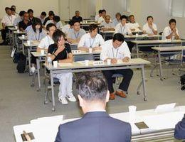 由岐コースの採用とコースの一部変更が報告された郡市代表者説明会=徳島新聞社